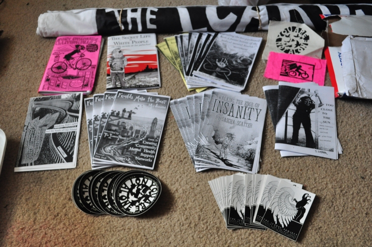 Stash of zines and stuff from Sascha for the Zine Fest